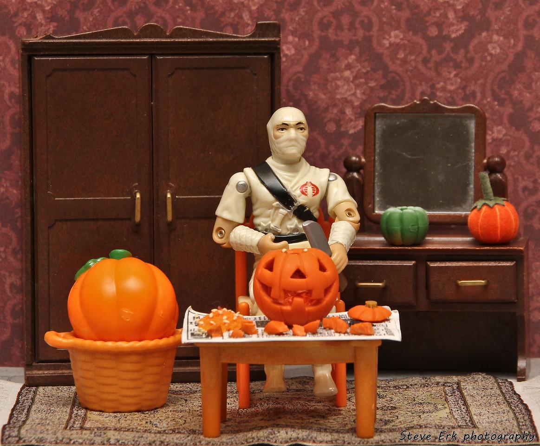 Storm Shadow carving pumpkins