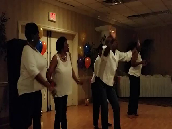 """CLASSMATES ETHEL PEEPLES ROBINSON, MARY ANN SCOTT, MAXINE WILLIAMS SALTERS, PONSENA RHYMES, & JENNETTE ALBRITTON SINGING """"GIVING HIM SOMETHING HE CAN FEEL"""".   THEY BROUGHT THE HOUSE DOWN!!!!"""