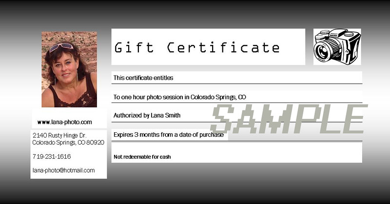 Gift Certificate for 1 hour photo session = $ 150.00