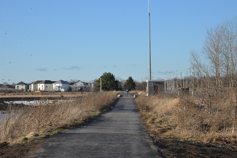 Path by the pond , pumping station and signal transmission tower