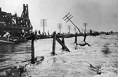 Great Mississippi Flood of 1927<br /> Caption: Army Corps of Engineers attend the the Great Mississippi Flood, the most destructive river flood in the history of the United States, 1927. (Photo by Fotosearch/Getty Images).
