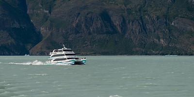 Ferry boat in Lake Argentino, Los Glaciares National Park, Santa Cruz Province, Patagonia, Argentina