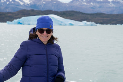 Smiling woman at Lake Argentino, Santa Cruz Province, Patagonia, Argentina