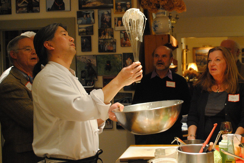 Chef Ray Chen of the Inn at West View Farm in Dorset, VT checking the whipped cream.