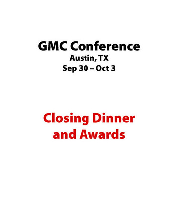 Closing Dinner and Awards