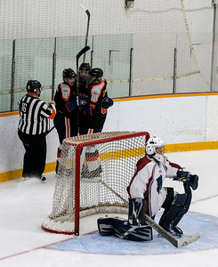 Cody Storm Cooper Photography photo  The Parry Sound Islanders celebrate their goal.  The Parry Sound Islanders defeated the Haliburton Wolves by a score of 5-4 on Saturday evening at the Humphrey Community Centre.