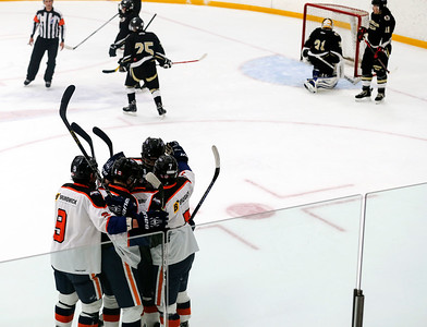 Cody Storm Cooper Photography photo  The Islanders players celebrate their goal.  The Parry Sound Islanders took on the Sturgeon Falls Lumberjacks and lost 6-5 on Saturday September 19 at the Humphrey Community Centre.