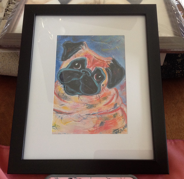 """Framed Print of a painting of a 2012 GMPR pug by Elizabeth Landry. Size 11"""" x 9""""<br /> <br /> Winner pays shipping<br /> <br /> Starting bid $15"""