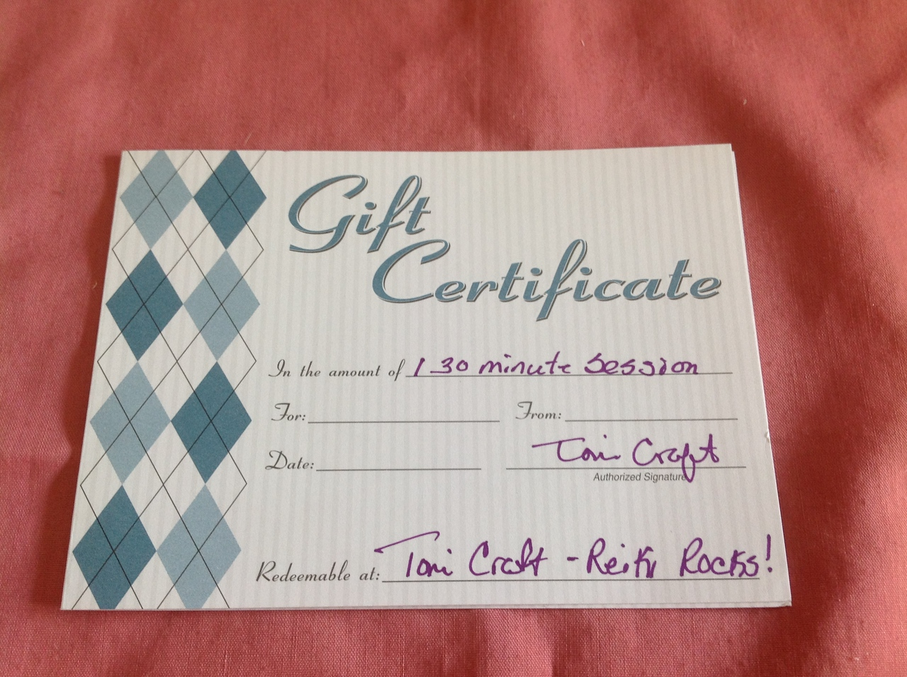 """Gift certificate for a  30 minute  Reiki session with Toni Craft. For more info:  <a href=""""http://www.tonicraft.com"""">http://www.tonicraft.com</a>. Toni's operates out of Clifton Park, NY.<br /> <br /> Starting bid $10"""
