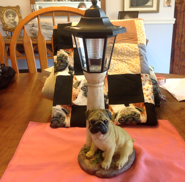 "Solar powered Pug Light 14"" h.<br /> <br /> Winner pays shipping<br /> <br /> Starting bid $10"