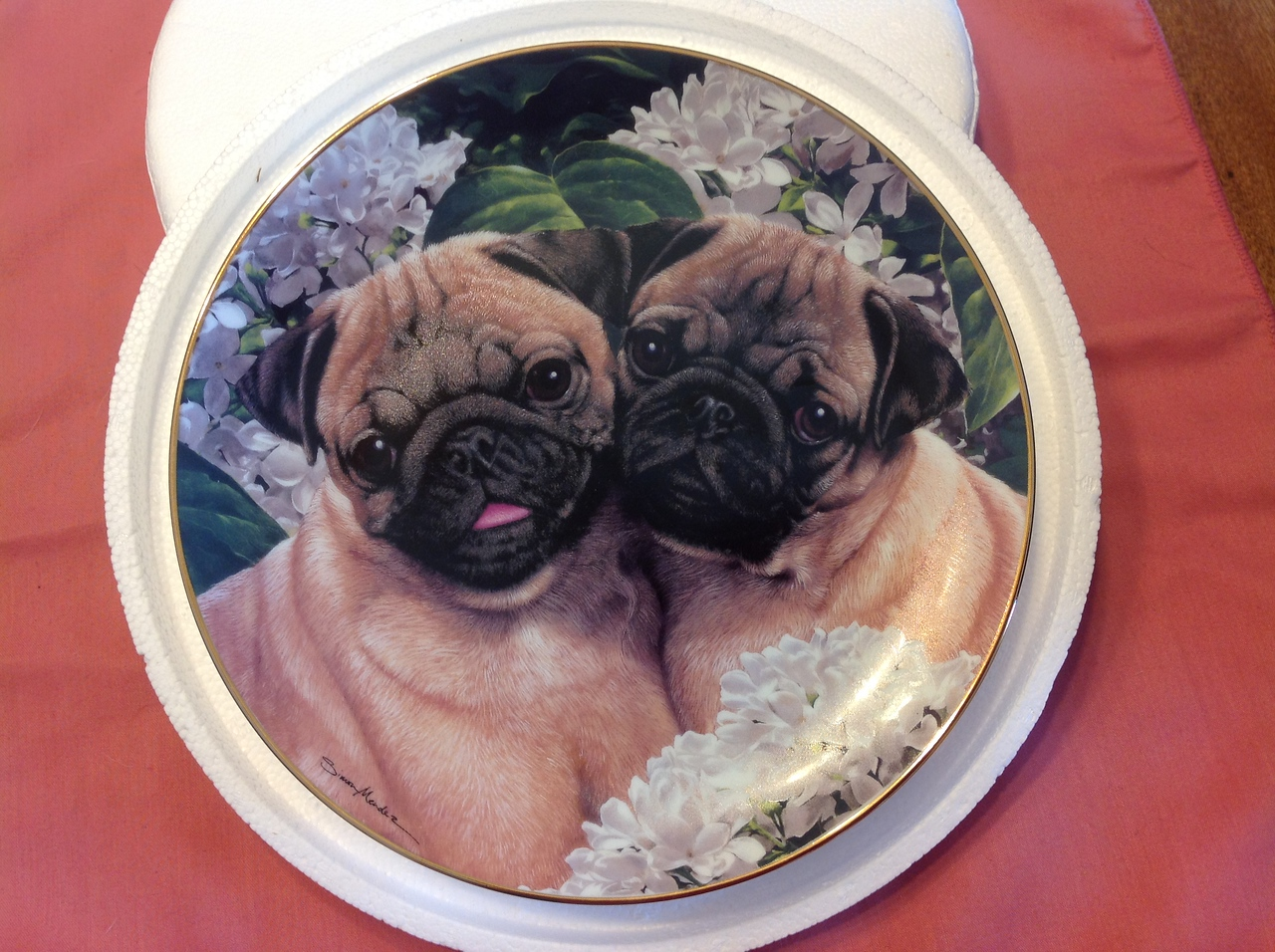 """Danbury Mint Plate """"Pug Love"""" by Simon Mendez in the Pugs collection. Plate #C6430<br /> <br /> Winner pays shipping<br /> <br /> Starting bid $10"""