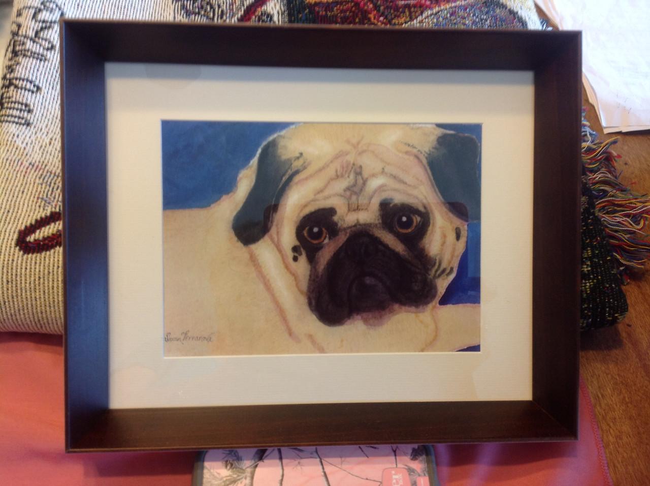 "Framed Susan Terranova  watercolor painting 10 3/4"" x 8 3/4"".<br /> <br /> Winner pays shipping<br /> <br /> Starting bid $20"