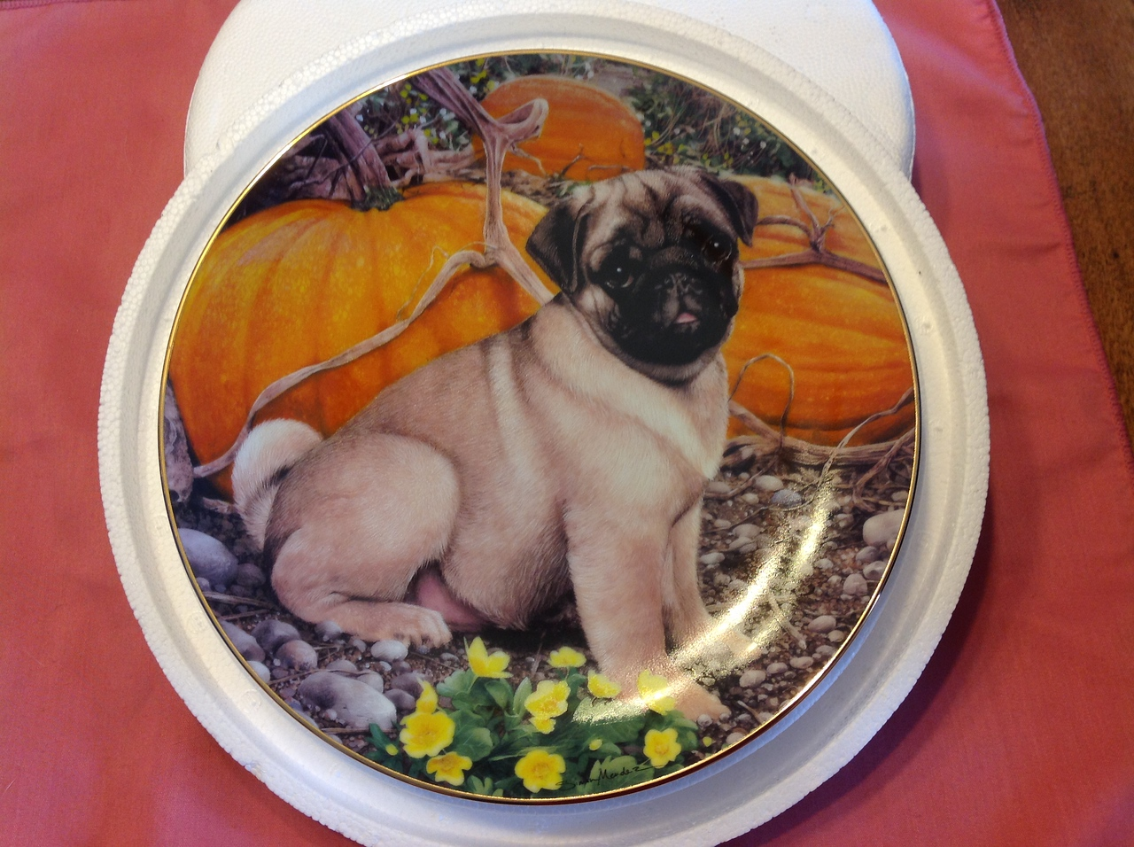 """Danbury Mint Plate """"Pumpkin Patch Pug"""" by Simon Mendez from Pugs Collection. Plate # C6430.<br /> <br /> Winner pays shipping.<br /> <br /> Starting bid $10"""