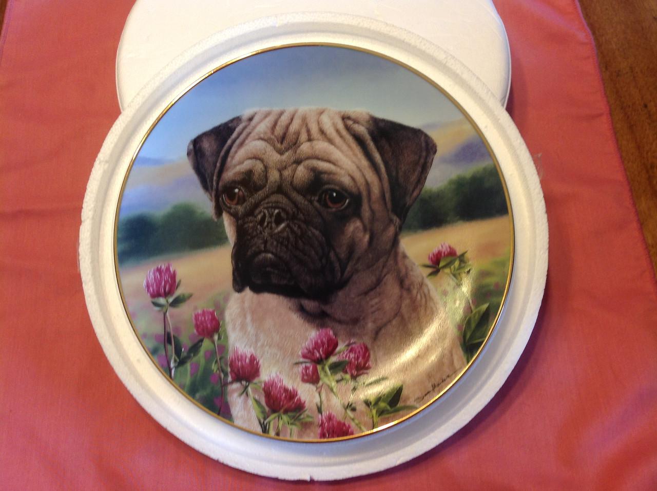 "Danbury Mint ""Prairie Pug"" in the  Pug Series by Simon Mendez. Plate # C6430.<br /> <br /> Winner pays shipping<br /> <br /> Starting bid $10"
