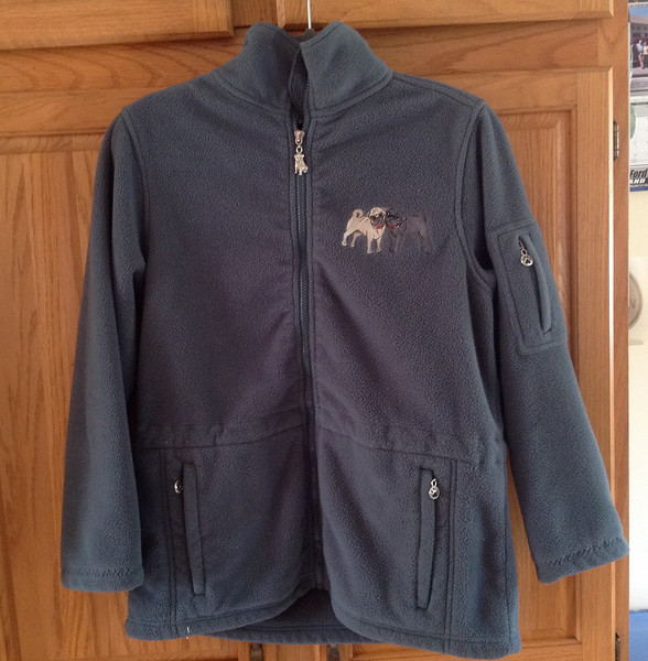 Gray fleece jacket with embroidered pugs on the front and also across the back. Lightly used - in excellent condition. Size S.<br /> <br /> Winner pays shipping<br /> <br /> Starting bid $10