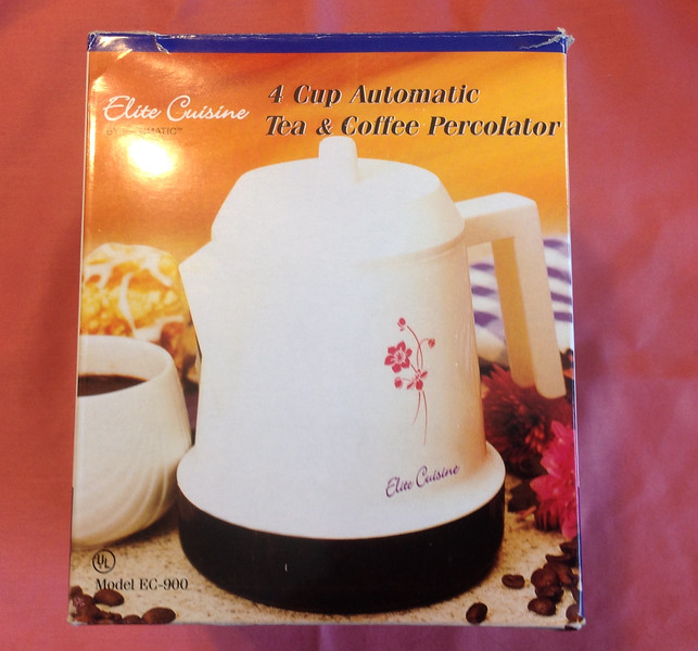 Electric Automatic Tea & Coffee Percolator 4 cup<br /> <br /> Winner pays shipping<br /> <br /> Starting bid $3