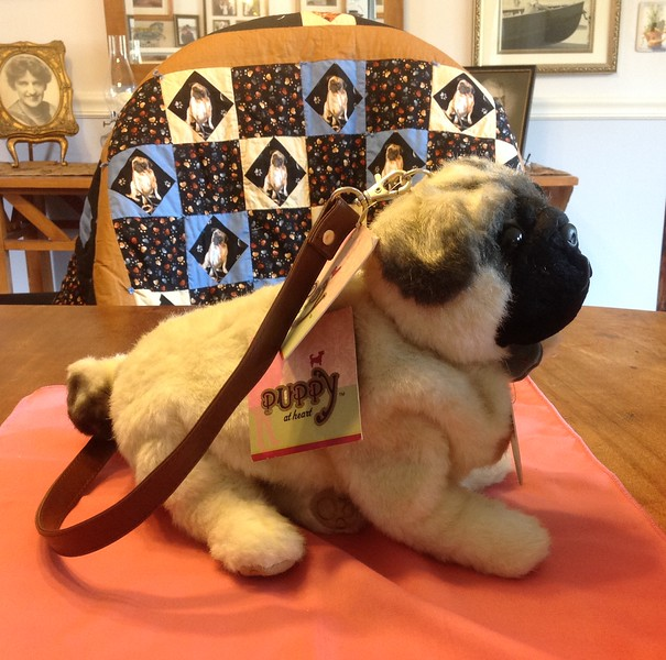 "Puppy at Heart Pug bag 13"" long x  11"" high.<br /> <br /> Winner pays shipping<br /> <br /> Starting bid $10"