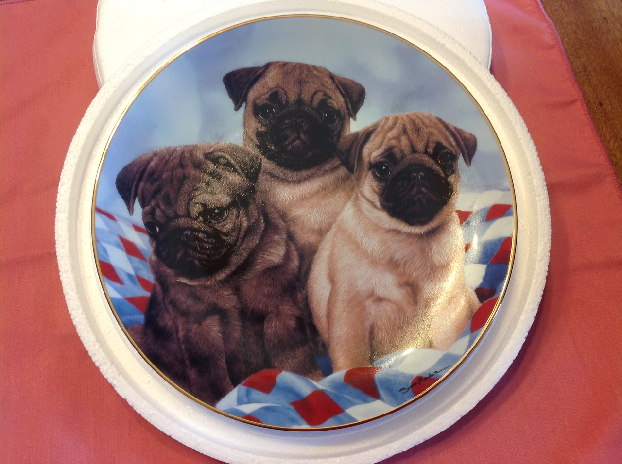 """Danbury Mint Plate """"Three Little Pugs"""" by Simon Mendez in the Pugs collection. Plate # C6430<br /> <br /> Winner pays shipping<br /> <br /> Starting bid $10"""
