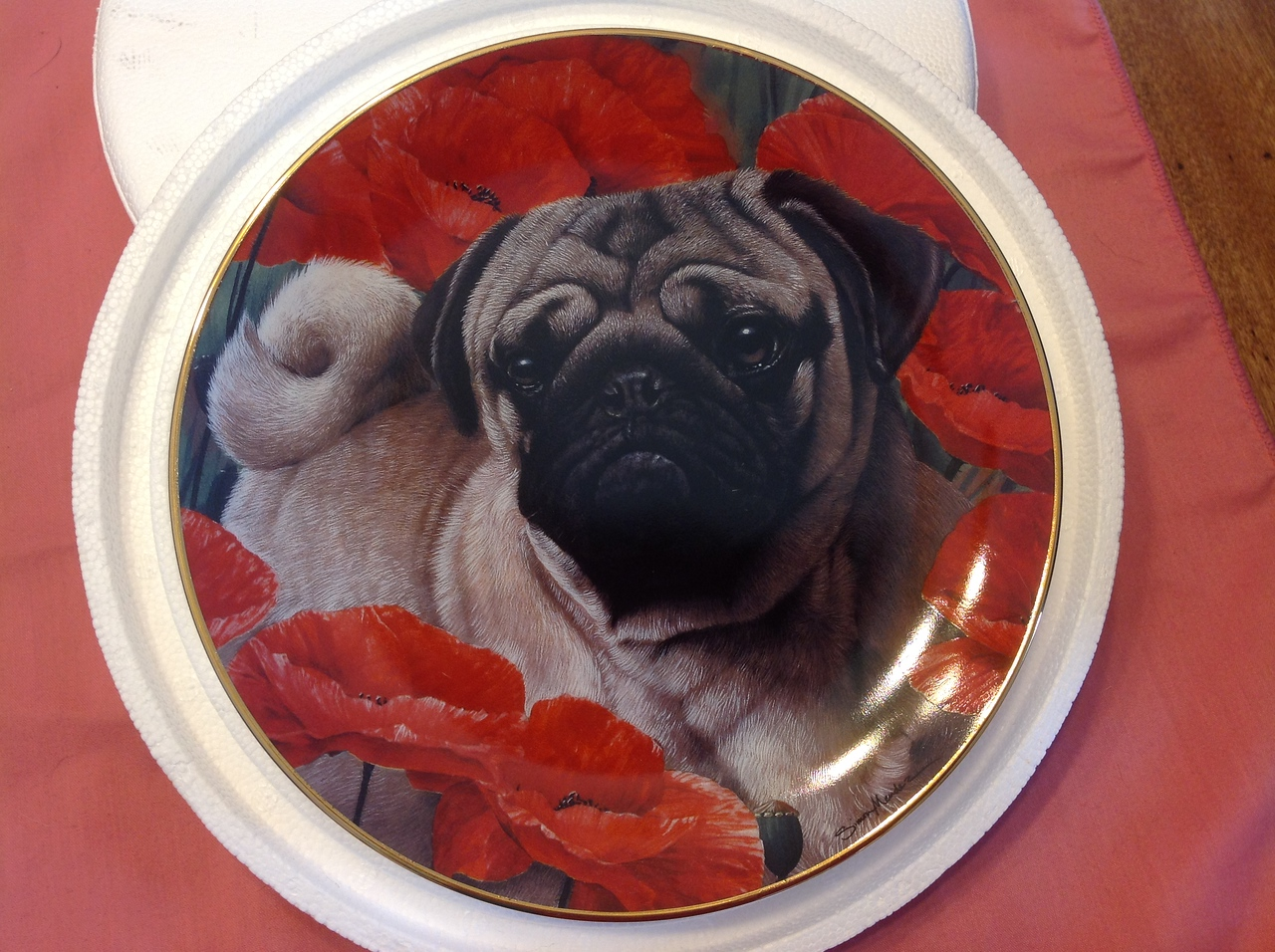 """Danbury Mint Plate """"Poppy Love"""" by Simon Mendez in the Pug collection. Plate #C6430<br /> <br /> Winner pays shipping<br /> <br /> Starting bid $10"""