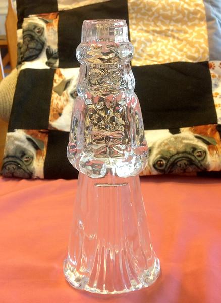 "Princess House Lead Crystal Santa candle holder 8"" high<br /> <br /> Winner pays shipping<br /> <br /> Starting bid $3"