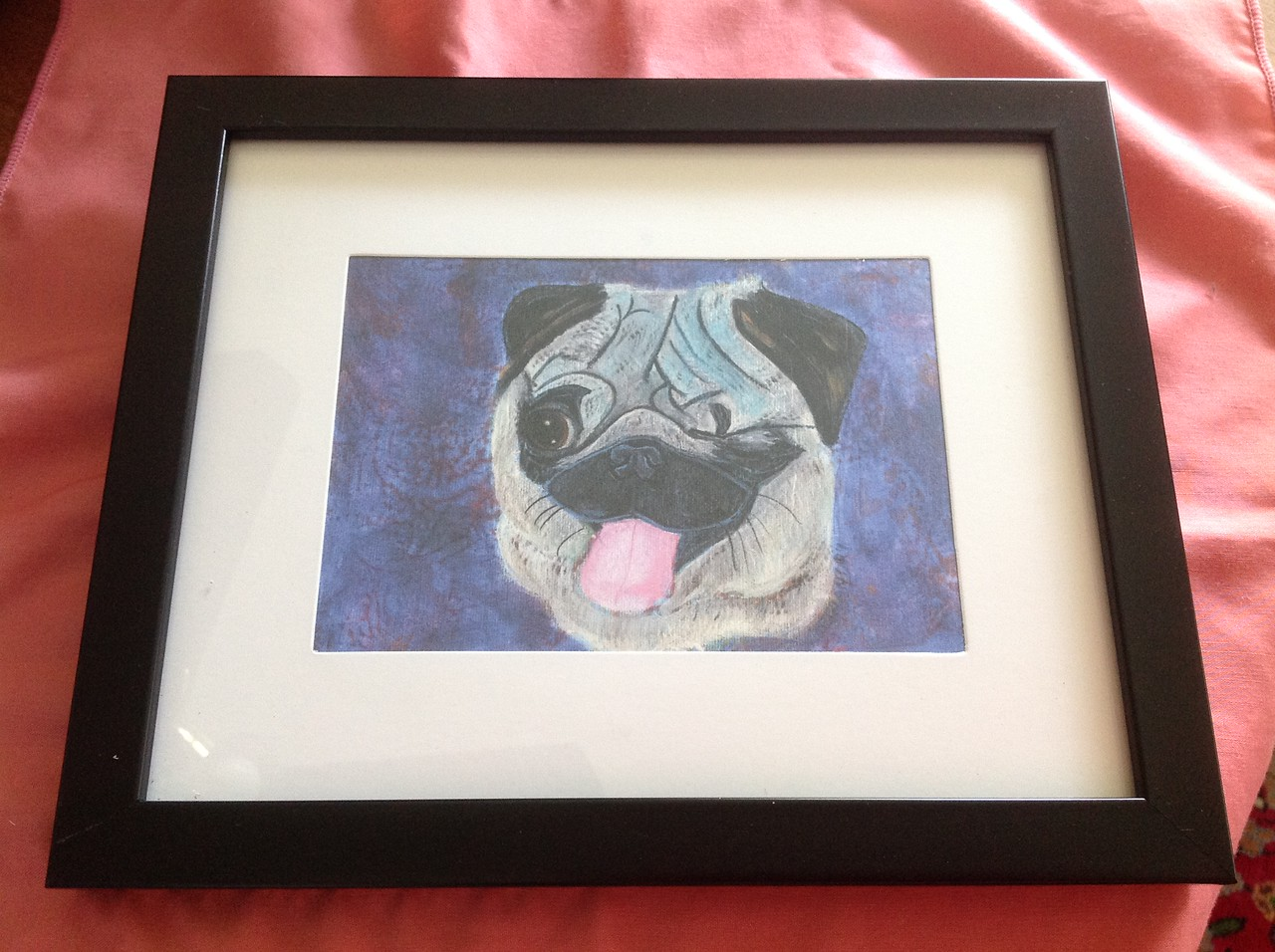 Framed  Print of a painting of a 2013 GMPR pug  by Elizabeth Landry.<br /> <br /> Winner pays shipping<br /> <br /> Starting bid $15
