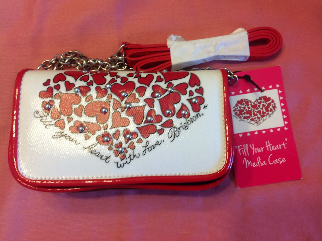 """This is a genuine Brighton Red Hearts bag for phone, keys etc. 6"""" x  3 1/2"""". Retails for $60 approx.<br /> <br /> Winner pays shipping<br /> <br /> Starting bid $5"""