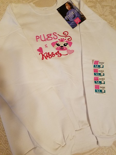 Pugs & Kisses Sweatshirt  Size XL