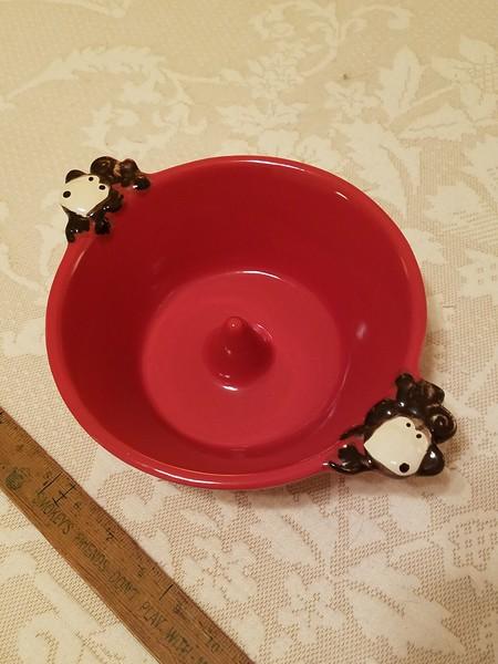 Ceramic Dog Bowl with Monkeys
