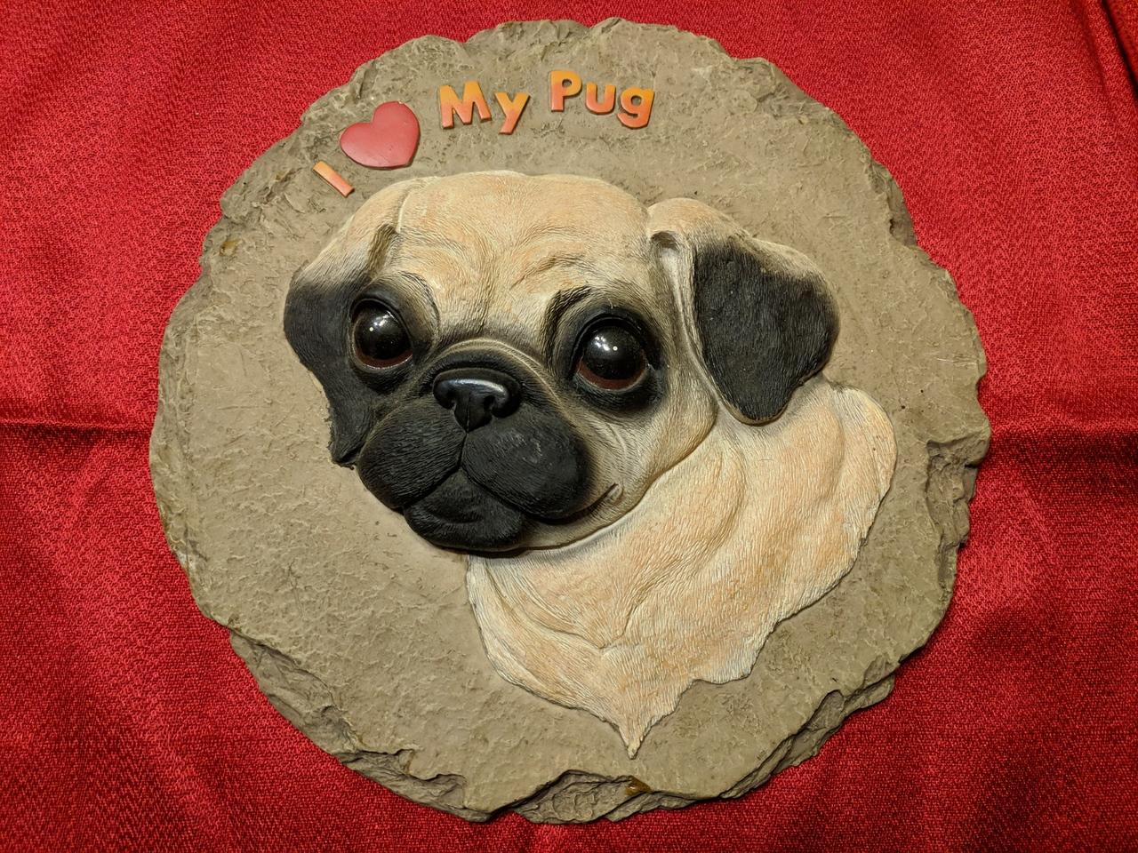 Fawn Raised Pug Head Slate