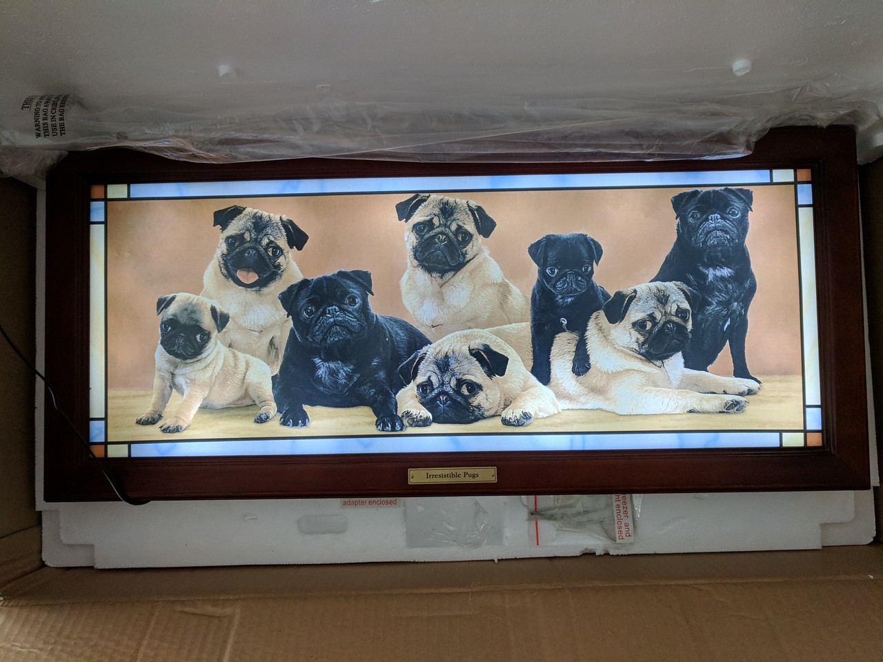 Irresistible Pugs - Light Up Wall Hanging