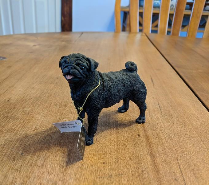 Black Pug Resin Figurine