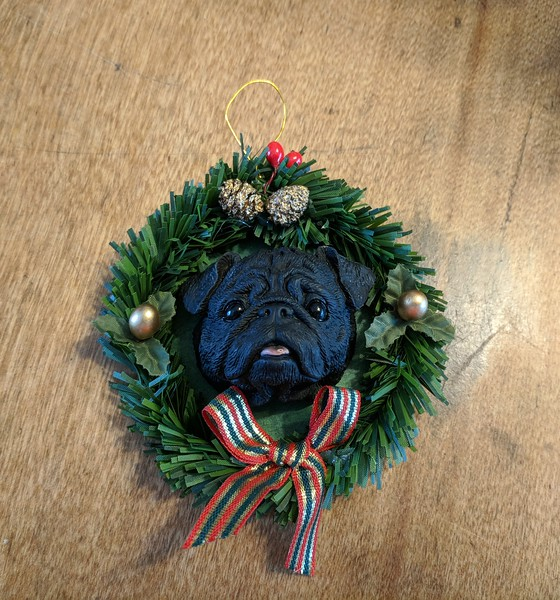 Black Pug Head Christmas Ornament