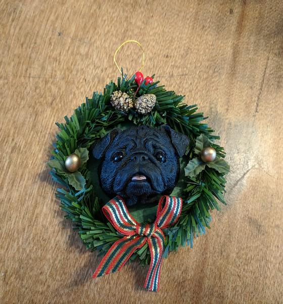 Black Pug Head Christmas Ornament