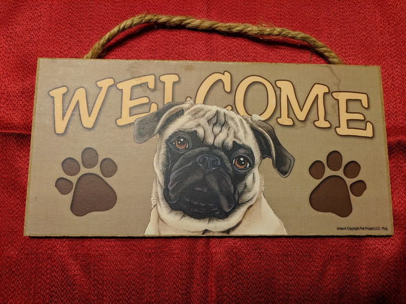 Fawn Pug Welcome Plaque
