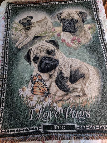 Danbury Mint I Love Pugs Throw