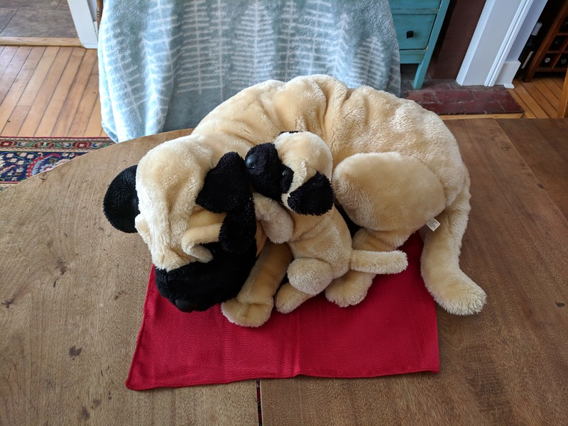 Large Stuffed Mother Pug with Puppy