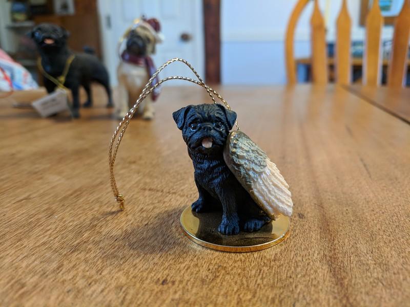 Black Pug Angel Ornament