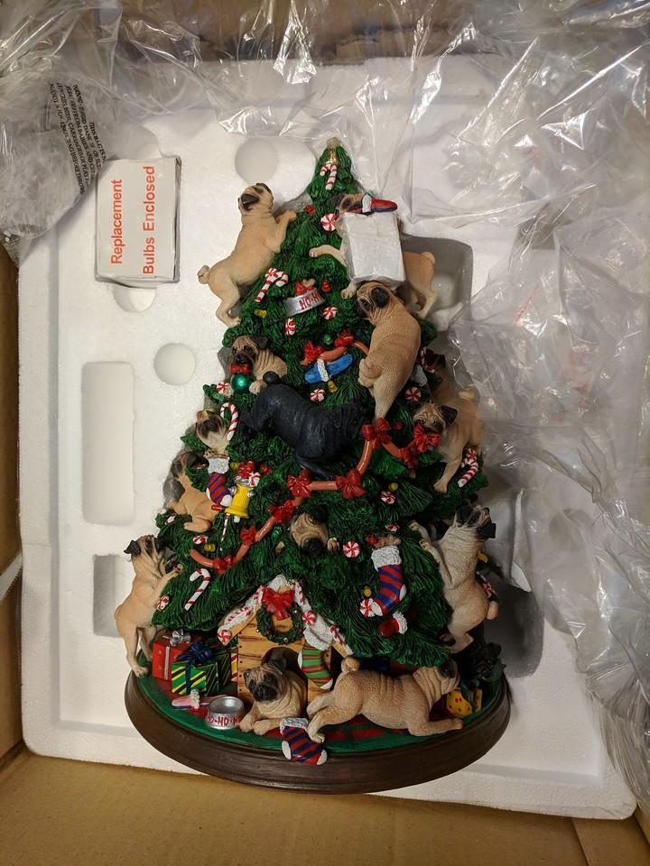 Pugs Climbing Christmas Tree