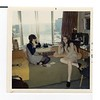 Beth Fredericks and Karen Bean in Rena's dorm room.  Karen has long legs! University of Wisconsin, 1970
