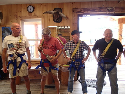 Tim, Phil, Fred and Steve adjusting their harnesses. The harnesses felt just like the black ones we have in our closet!