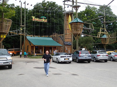 Steve in front of their aerial adventure park.