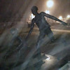 A Clinch Park statue on a foggy night. Photo by Scott Lowe