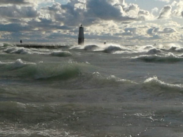 A blustery day at Frankfort Beach. Photo by Donna Weathers.