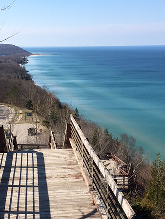 A view of Lake Michigan from an M-22 lookout looking south toward Arcadia. Photo by Russ VanHouzen.