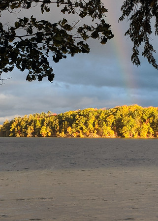 A rainbow over Long Lake Peninsula. Photo by Lynn Huffman.