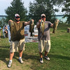 Dan Hatchew, left, and Doug Polasek nearly had the win with this 21 pound plus impressive display of smallmouth bass. They took second place at the tournament. The launch and weigh-in was on Elk Lake. Photo by Doug James.
