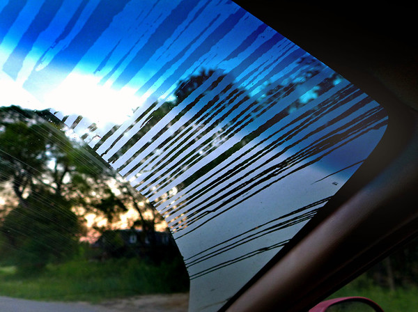 Dew on a windshield on Garfield Road in Traverse City. Photo by Gerald Martineau.