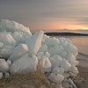 Ice piled up on Glen Arbor Shore at Sunset in early April. Photo by Kimberly Kroupa.