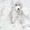 "A Ramsdell Street ""snow dog"" sculpted by Jillian Somerville, 11. Photo by Karen Schneider."