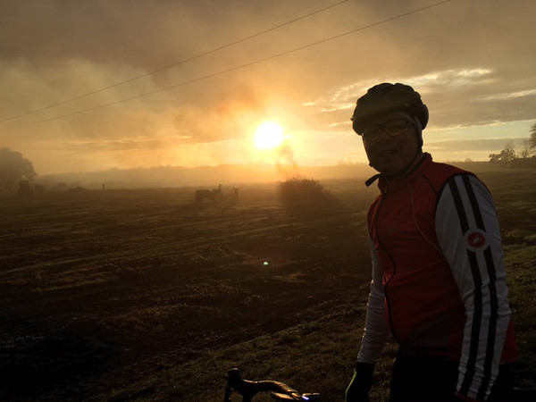 Early morning bike ride in fog and smoke from fire /brush burn. Photo by Ross Scofield and Russ VanHouzen.